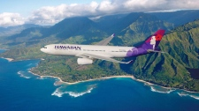 Hawaiian Airlines plane flies over Hawaii