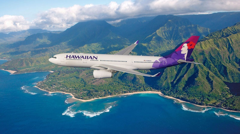 A Hawaiian Airlines plane flies above Hawaii in this photograph provided by the airline in Feb., 2011. (Hawaiian Airlines Inc. / Chad Slattery)