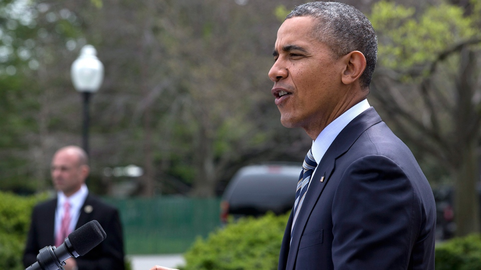 U.S. President Barack Obama speaks in the Rose Garden of the White House in Washington, Friday, April 18, 2014. (AP / Jacquelyn Martin)