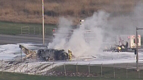 A small plane crashed on No. 2 Road in Richmond near Vancouver International Airport. Oct. 27, 2011. (CTV)