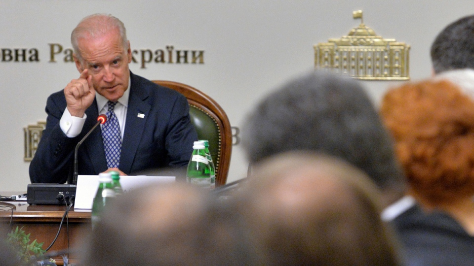 U.S. Vice President Joe Biden addresses members of the Ukrainian parliament during a meeting Tuesday, April 22, 21014 in Kyiv. (AP Photo/Sergei Supinsky, Pool)