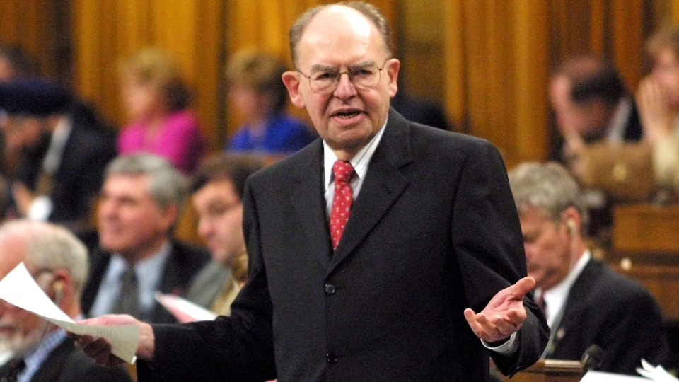 Then-Deputy Prime Minister Herb Gray responds in the House of Commons during question period in Ottawa, Monday, April 23, 2001. (Jonathan Hayward / THE CANADIAN PRESS)