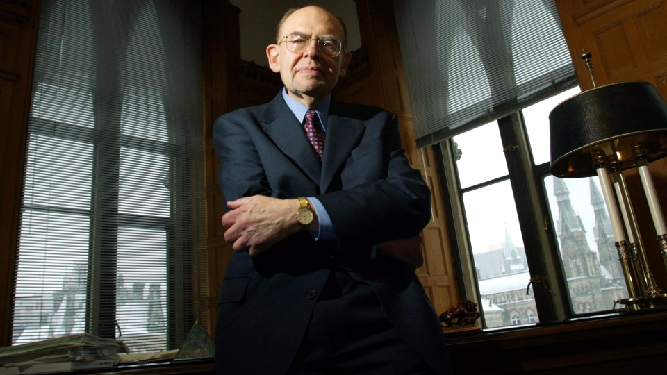 Herb Gray poses for a photo in his office on Parliament Hill in Ottawa Tuesday Jan 15, 2002. Gray, a former deputy prime minister and one of Canada's longest-serving parliamentarians, died Monday at the age of 82. (Tom Hanson / THE CANADIAN PRESS)