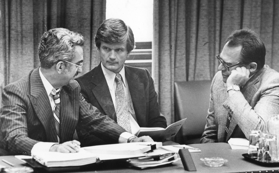 Liberal MPs Jean-Luc Pepin, left to right, Art Phillips and Herb Gray discuss strategy in preparation for the opening of Parliament in Ottawa in 1979. (Peter Bregg / THE CANADIAN PRESS)