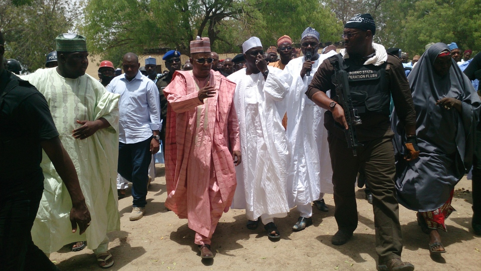 Borno state governor Kashim Shettima, centre, visit government secondary school Chibok, were gunmen abducted more than 200 students in Chibok, Nigeria, Monday, April, 21. 2014. (AP / Haruna Umar)