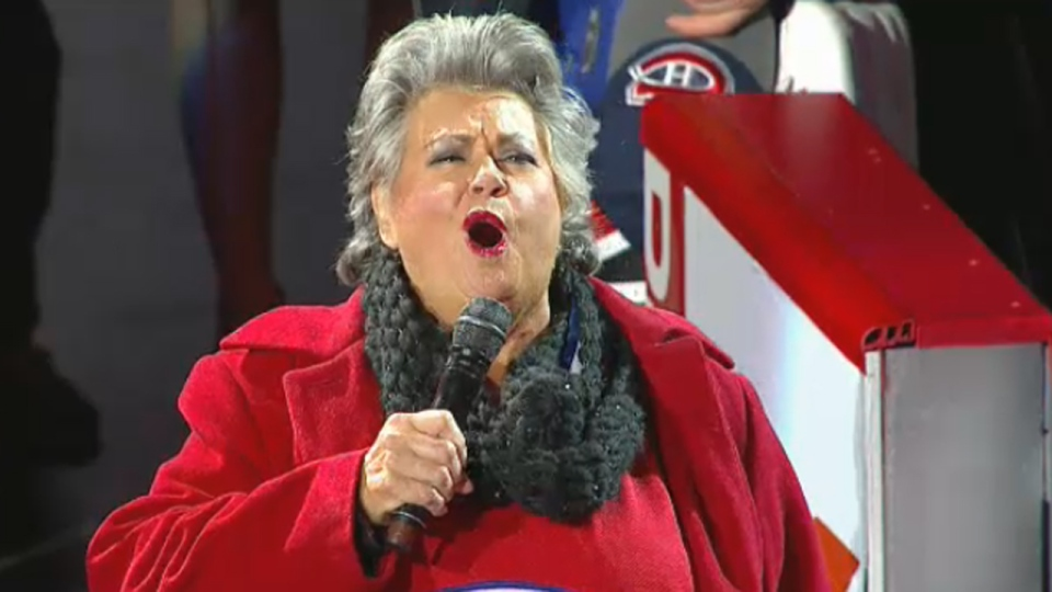 Ginette Reno sings O Canada at the Bell Centre on April 20, 2014
