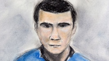 Court sketch of Matthew de Grood