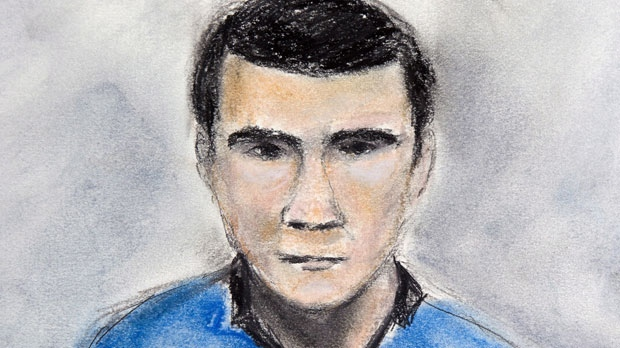 Matthew de Grood is depicted in a court sketch from his appearance on April 22, 2014. (Janice Fletcher / THE CANADIAN PRESS)