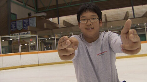 Special Olympian Alex Pang takes his skating workouts seriously and loves what the sport has brought to his life. Oct. 27, 2011. (CTV)