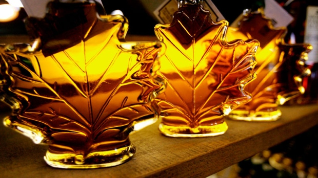 Maple syrup bottles are seen on a shelf at the Morse Farm Maple Sugarworks in East Montpelier, Vt., on Feb. 25, 2009. (AP / Toby Talbot)