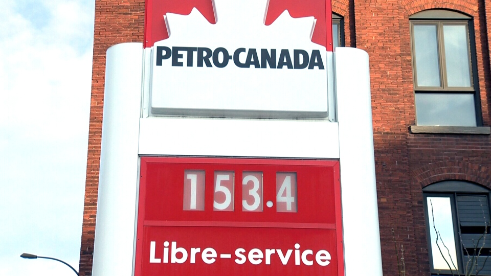 Gas is 153.4 cents per litre at this Petro-Canada station in Montreal, Wednesday, April 23, 2014. Prices across the country continue to rise.