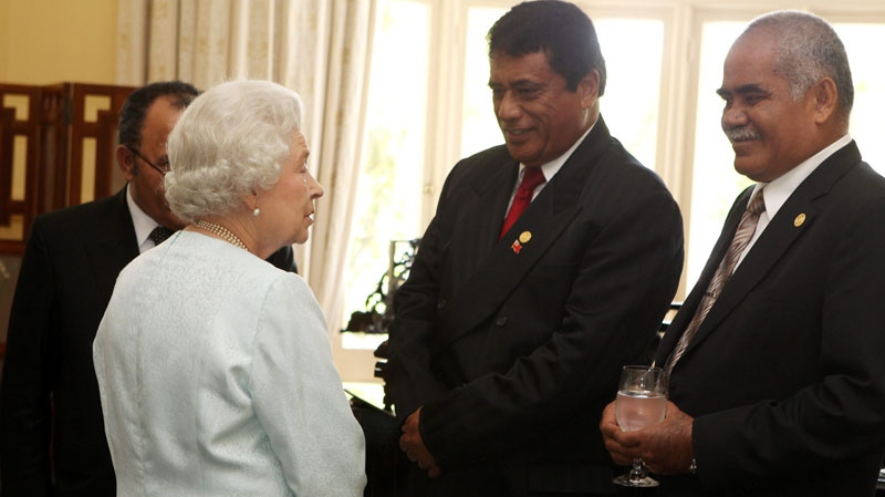 Queen Elizabeth is seen speaking with heads of Commonwealth governments in Perth, Australia on Oct. 28, 2011