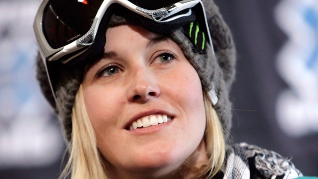 Canadian freestyle skier Sarah Burke looks on during a news conference at the Winter X Games, in Aspen, Colo., Jan.21, 2009. (Nathan Bilow / THE CANADIAN PRESS)