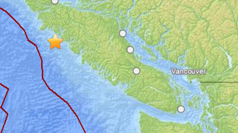 A 6.6-magnitude earthquake struck off the B.C. coast on Wednesday, April 23, 2014. (U.S. Geological Survey)