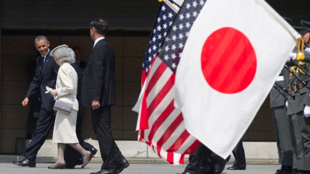 U.S. President Barack Obama with Japan's Akihito