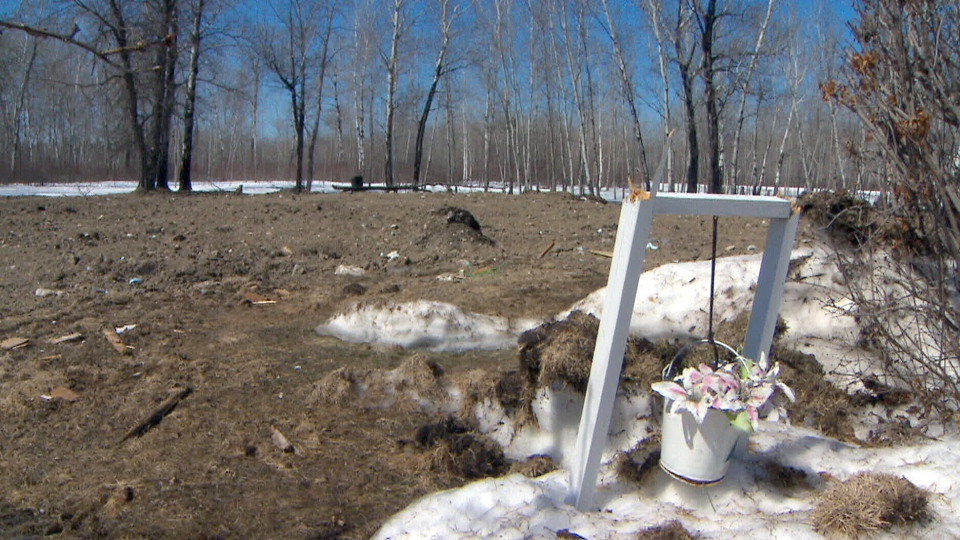 An empty lot where a building once stood on Manitoba's Lake St. Martin First Nations reserve.