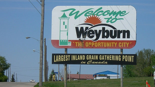 A sign outside Weyburn, Sask., is seen in this file photo.