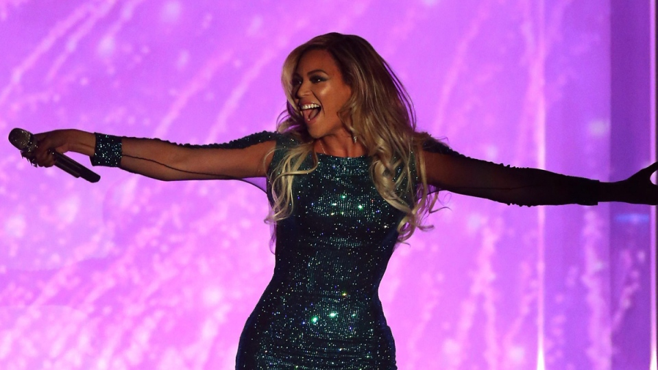 Beyonce performs at the O2 Arena in London on Wednesday, Feb. 19, 2014. (Photo by Joel Ryan/Invision/AP)