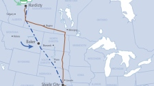 This map shows the proposed Keystone XL pipeline route, which originates in Hardisty, Alta., then cuts diagonally across the southwest corner of Manitoba before entering the U.S. (TransCanada)