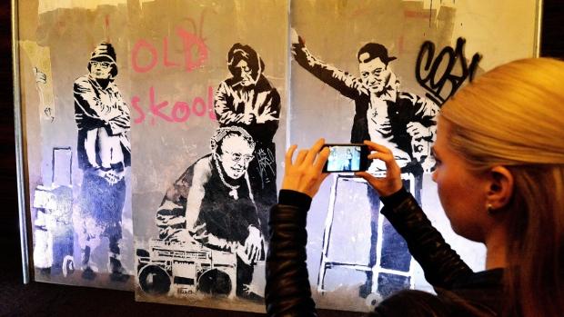 Banksy artwork on display in London