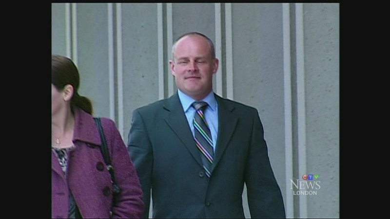Court officer Craig Pickering is seen outside the courthouse in London, Ont.