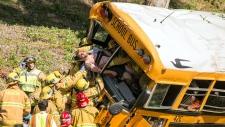 School kids hurt in California school bus crash