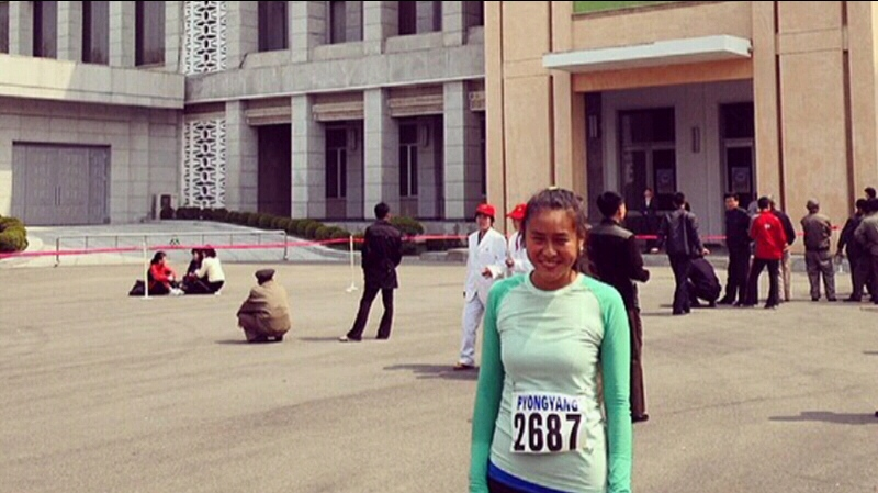 Jen Loong, who works in China, took part in the annual Mangyondgae Prize International Marathon in Pyongyang, North Korea on April 13, 2014.