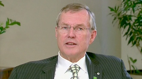 TD Bank CEO Ed Clark speaking to CTV's Question Period from Toronto on Sunday, Oct. 30, 2011.