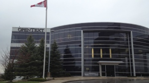 The OpenText headquarters are seen in Waterloo, Ont., on Friday, April 25, 2014. (Marc Venema / CTV Kitchener)