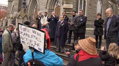 Protesters marched on the Holy Rosary Cathedral in downtown Vancouver on Sunday, Oct. 30, 2011. (CTV)