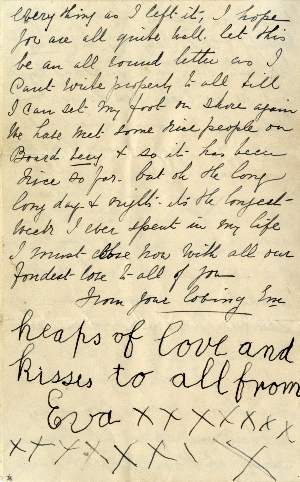 This undated image released by Henry Aldridge And Son Auctioneers shows part of a letter written by Esther Hart and her seven-year-old daughter, Eva, as they sailed aboard RMS Titanic in April 1912, shortly before the ship struck an iceberg and sank in the North Atlantic Ocean with 1,500 souls.  (Provided / Henry Aldridge And Son Auctioneers)