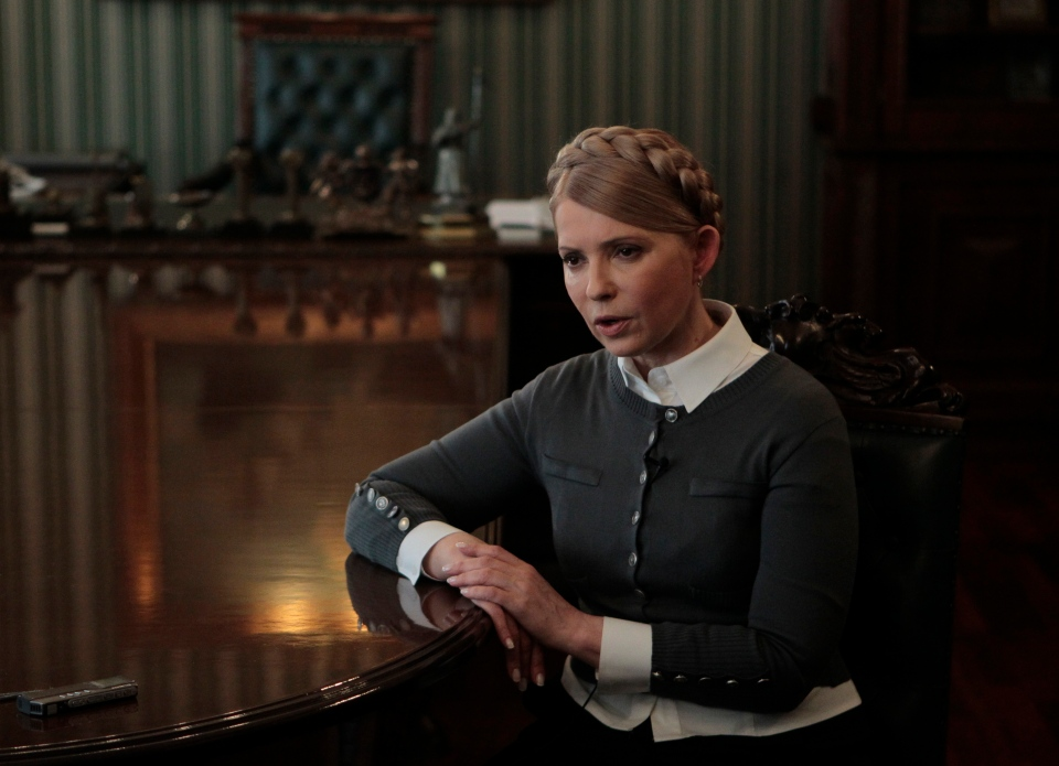 Former Ukrainian Prime Minister and candidate for the upcoming presidential elections Yulia Tymoshenko speaks during an interview with The Associated Press in Kyiv, Ukraine on Saturday, April 26, 2014. (AP / Sergei Chuzavkov)