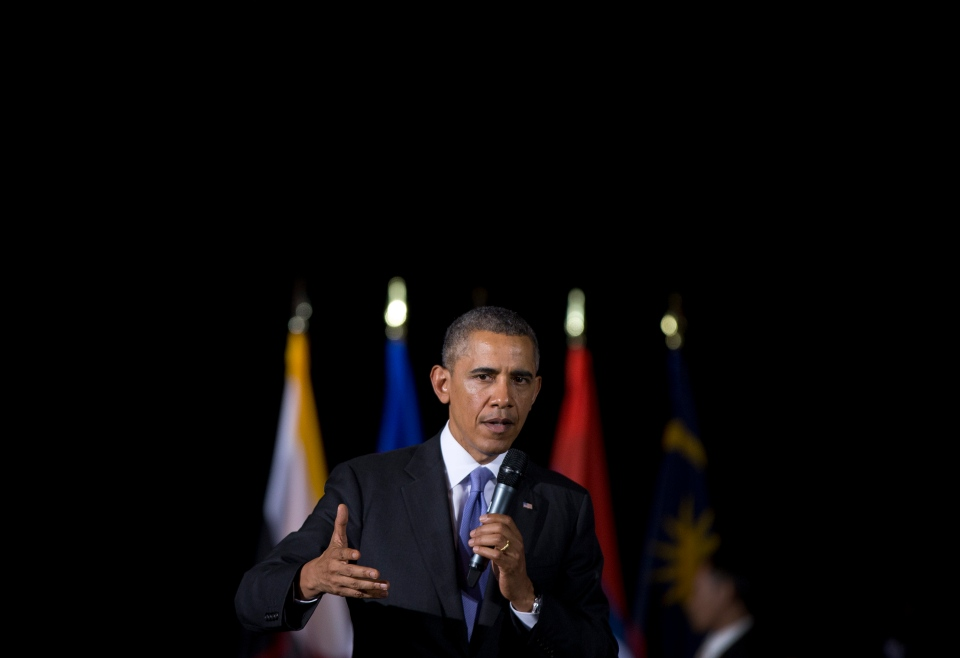 U.S. President Barack Obama speaks during a town hall meeting at Malaya University in Kuala Lumpur, Malaysia on Sunday, April 27, 2014. (AP / Carolyn Kaster)