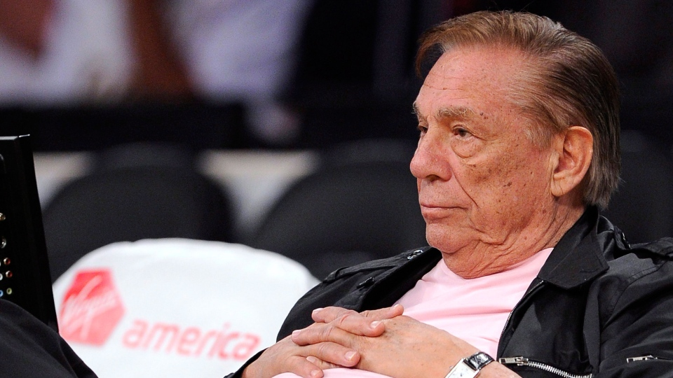 Los Angeles Clippers team owner Donald Sterling watches his team play in Los Angeles,  Oct. 17, 2010.  (AP / Mark J. Terrill)