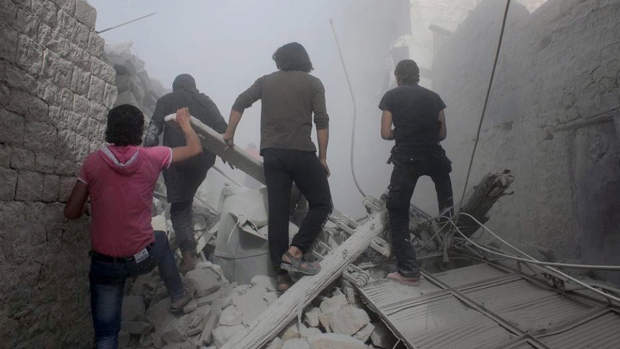 Airstrike damage in Aleppo, Syria