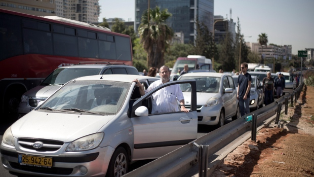 Stopping for Holocaust Day in Tel Aviv, Israel