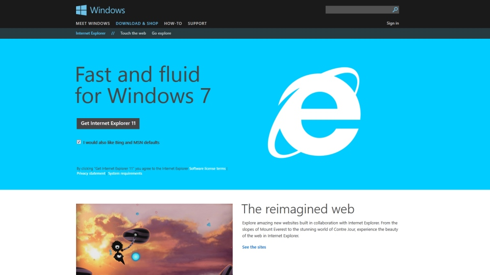 Internet Explorer's homepage, Monday, April 28, 2014. Microsoft is rushing to fix a security flaw in their flagship browser.