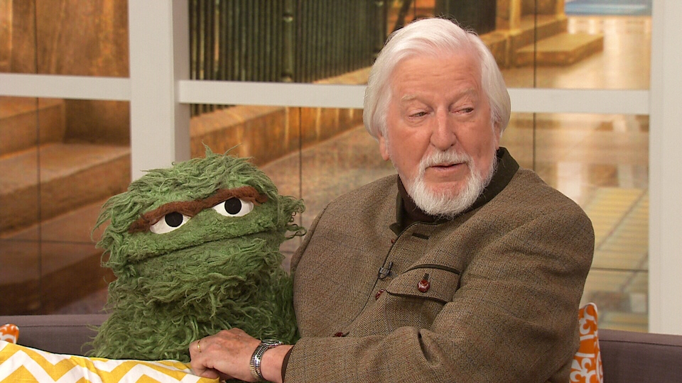 Oscar Caroll holds up Oscar the Grouch on CTV's Canada AM on Monday, April 28, 2014.