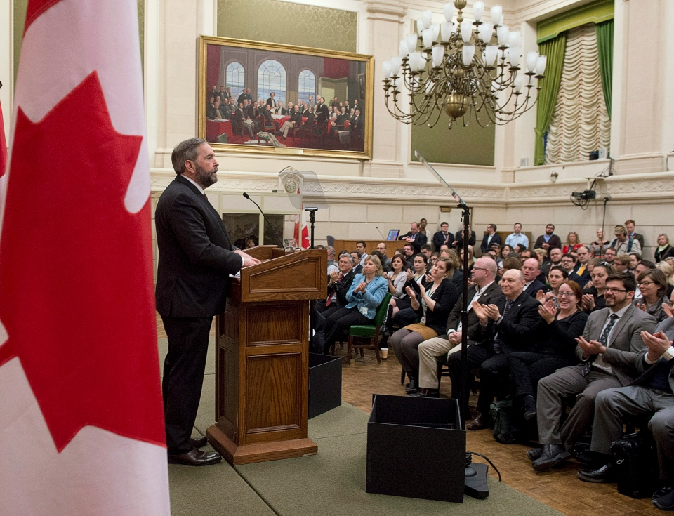 NDP leader Thomas Mulcair speaks about the Fair Elections Act to party members in Ottawa, Monday, April 28, 2014. (Adrian Wyld / THE CANADIAN PRESS)