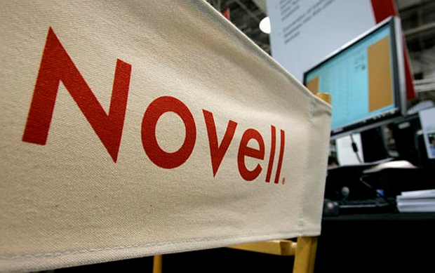 Novell logo seen at BrainShare convention in 2005