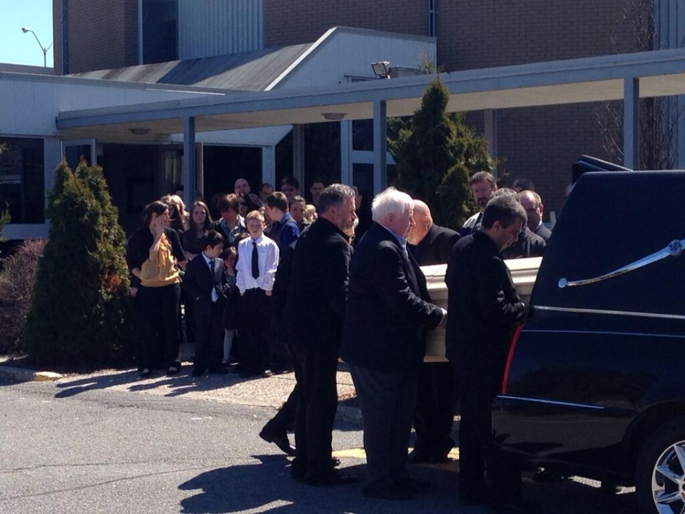 Mourners gather to say goodbye to Marc Nelson, a well-known musician who died in a construction accident nearly one week ago. (CTV Ottawa)