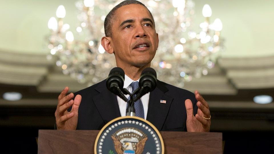 U.S. President Barack Obama speaks at the Ritz-Carlton in Kuala Lumpur, Malaysia, Monday, April 28, 2014. (AP / Carolyn Kaster)
