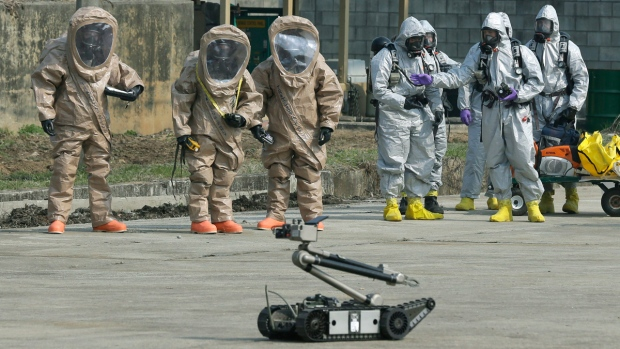 Bomb disposal robot in Uijeongbu, South Korea