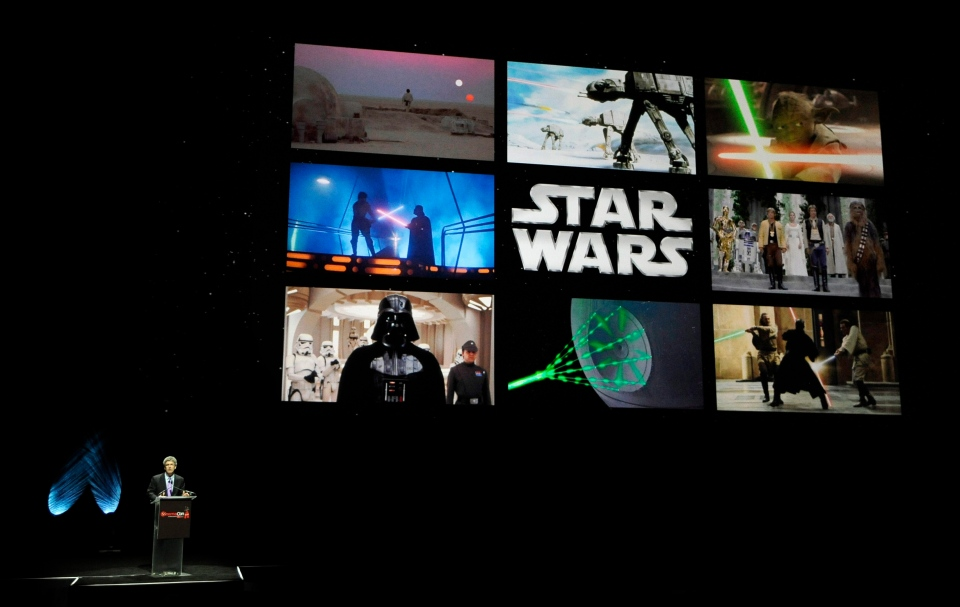 Walt Disney Studios Chairman Alan Horn talks about the 2015 release of 'Star Wars: Episode VII' during CinemaCon 2014 on Wednesday, March 26, 2014, in Las Vegas. (AP / Invision / Chris Pizzello)