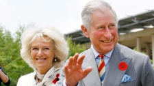 Prince Charles, right, and his wife Camilla, the Duchess of Cornwall, left, greet onlookers as they arrive for a tour of Soweto, Johannesburg, South Africa, Thursday, Nov. 3, 2011. (AP / Kim Ludbrook)