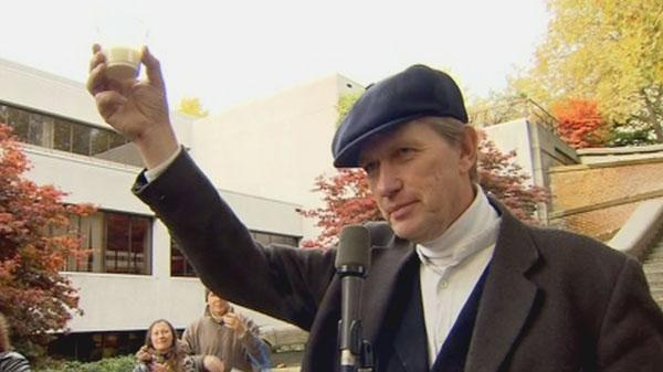 Michael Schmidt is seen speaking at a rally in B.C., on Wednesday, Nov. 2, 2011.