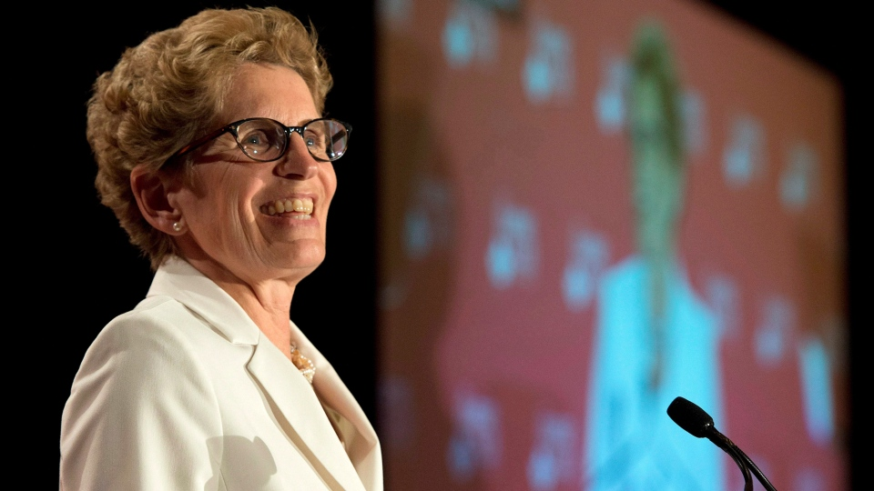 Ontario Premier Kathleen Wynne speaks to The Empire Club of Canada in Toronto on Monday, April 28, 2014. The Ontario budget will be released Thursday. (Frank Gunn / THE CANADIAN PRESS)