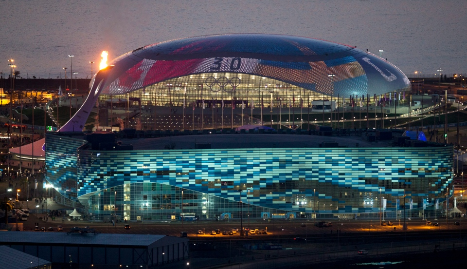The Bolshoy Ice Dome before the closing ceremony of the 2014 Winter Olympics, Sunday, Feb. 23, 2014, in Sochi, Russia. Russia`s Sochi hockey team will likely play in either the Bolshoy Ice Dome or Shayba Arena, which are both located in the Olympic Park. (AP Photo/Pavel Golovkin)
