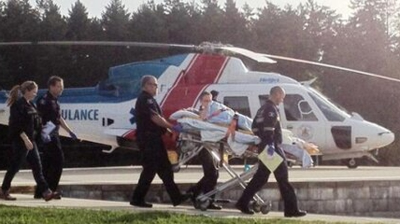 A person shot inside a Nanaimo, B.C., sawmill was airlifted to Victoria General Hospital in critical condition. April 30, 2014. (Cathy O'Connor/Twitter)