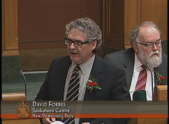 New Democrat David Forbes speaks during question period in the Saskatchewan legislature.